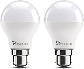 Syska Base B22 9-Watt LED Bulb (Pack of 2, Cool Day Light)