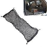 QEUhang Gepäcknetz 35x95 cm Ladungssicherung Trennnetz inkl. 4 Stück Haken zur Befestigung für Auto KFZ Kofferraum
