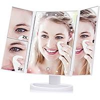 Haofy Espejo de Maquillaje Tríptico Espejo de Luz Plegable con 21 LED Espejo de Mesa 180º Ajustable Ampliación de 1X 2X 3X