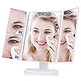 Haofy Espejo de Maquillaje Tríptico Espejo de Luz Plegable con 21 LED...