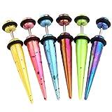 JSDDE Piercing Schmuck,12er Set 6-Farben Acryl Splash Bunt Fake Plug Taper Dehnstab Ohrstecker Dehnungsstab Punk Ohrpiercing(5MM)