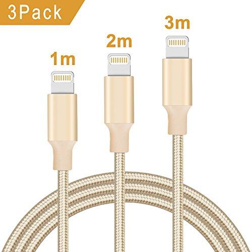Quntis 3Pack 1m+2m+3m iPhone Ladekabel Nylon, Apple-MFi-Zertifiziert USB A auf Lightning Kabel für Apple iPhone XS/XS Max/XR/X/8/8 Plus/7/7 Plus/6/6S/6 Plus/5S/SE, iPad Mini/Air/Pro, iPod 5/7 (Gold) (Apple Ipod Mini 3)