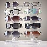 Cozime Brillenständer für 10 Brillen, Brillen Regal Brillenregal Brillenhalter 2 reihiges, Acryl Transparenten 30 x 13 x 32cm zur Aufbewahrung und Präsentation (nicht Inklusive Brille)