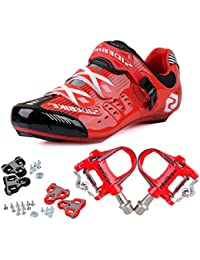 Men's Professional Breathable Road Cycling Shoes Road Biking Shoes with 1 Pair Pedals(Please choose a size up than usual)