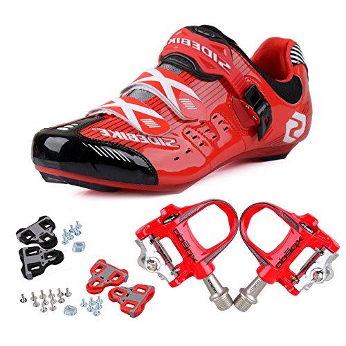 TXJ Rennradschuhe Fahrradschuhe Radsportschuhe mit Klickpedale EU Größe 45 Ft 28.5cm (SD-003 Rot/Schwarz)(pedale rot)