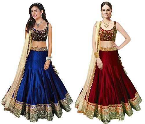 Market Magic World Woman\'s and Girl\'s Banglori Silk Lehngacombo016 Semi stitched Free Size Lehengha Choli Combo Pack Of 2 Pieces (Ghaghra Choli, Chaniya Choli)