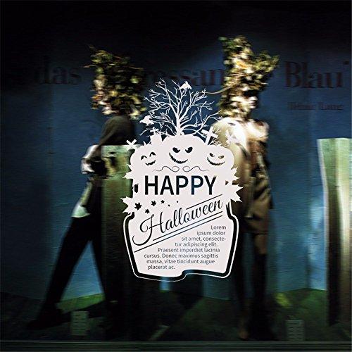 Halloween Haus KüRbis Gesicht Kombination Pvc Abnehmbar Fensterglas Aufkleber Hintergrund Wandaufkleber GrüN Dekorativer Wandaufkleber 94 X 58Cm