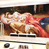 3D Mur Peinture Européenne Style Fille Peinture À L'Huile Grandes Fonds D'Écran Pour Salon Chambre Tv Fond Revêtement Mur Photo,300cmx210cm