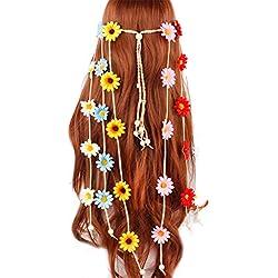 VIccoo Bohemia de Color simulación Margarita Girasol Diadema Mujer niña con Cuentas borlas Trenzado Tejido Corona de Pelo Corona Nupcial Casco - Vistoso