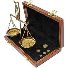 Aubaho Balanza de Farmacia latón balanza para Caja de Madera Estilo Antiguo