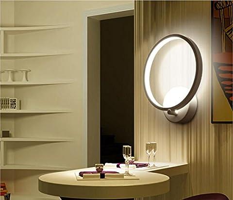 Bella Fontaine 12W LED Applique murale moderne anneau forme lampe murale en métal avec finition blanche éclairage mural décoratif pour intérieur 20* 26* 7cm Blanc chaud/blanc Moderne weiß