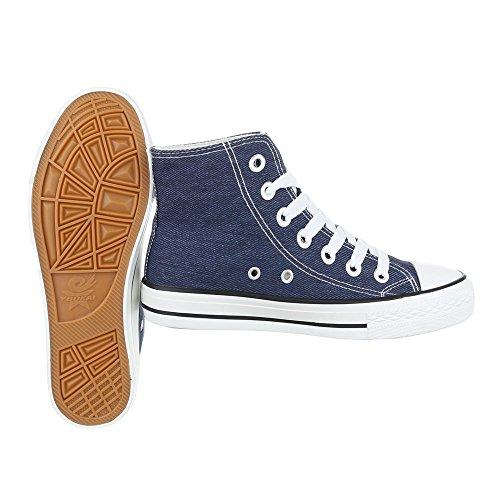 Sneakers für Damen und Herren Unisex Turnschuhe Schnürsenkel Ital-Design Blau XY-1670