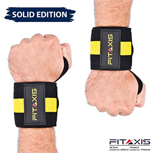 FITAXIS Handgelenk Bandagen | Wrist Wraps für Fitness, Bodybuilding, Kraftsport & Crossfit - für Manner und Frauen (Black/Yellow/L1, 18