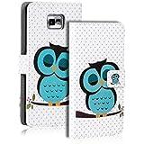 CoolGadget PREMIUM Wallet Tasche mit Eulen - Hülle für Samsung Galaxy S2 Motiv 7
