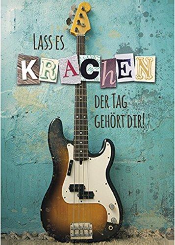 Postkarte-Glckwunschkarte-Geburtstag-Gitarre-La-es-krachen