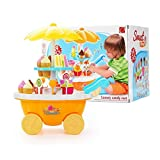 Ballylelly I Bambini Fanno Finta di Giocare a Giochi di Ruolo con Illuminazione Musicale Set di carrelli per Gelati Imparare Giocattoli educativi per Bambine
