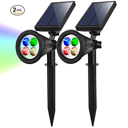 Spot Solar-outdoor-lampen (Solar Gartenleuchten Superhelle Outdoor Spotlight 4 Led Colorful IP65 Wasserdicht Auto-on/off mit Erdspieß für Weihnachten Zaun Hinterhöfe Gärten Rasen,2 Stück)