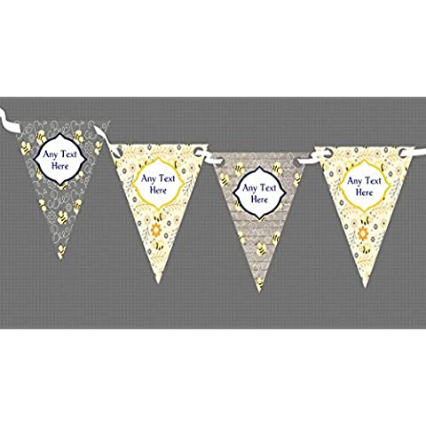 Bumble Bee Grigio & giallo Personalised Children s Birthday Party-Striscione con bandierine, decorazione, Grande