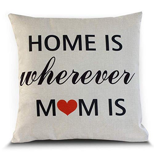 , Wo Immer Mom ist Decor Werfen Kissenbezug 45,7x 45,7cm Baumwolle Leinen-der Perfekte Muttertag Geschenk 18x18 inch Weiß ()