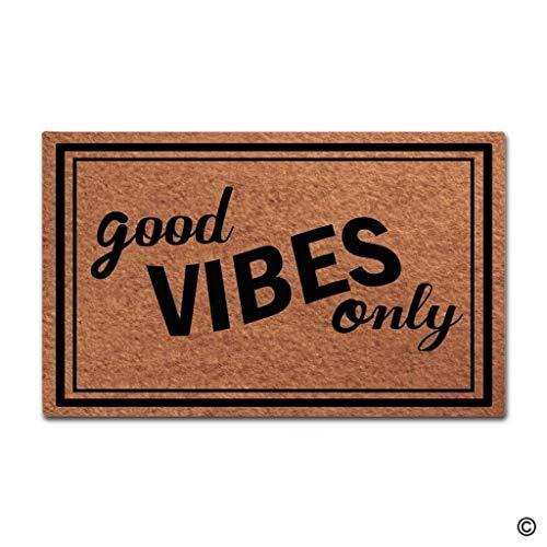 Bag hat Doormat Entrance Floor Mat Good Vibes Only Funny Door Mat Indoor Outdoor Decorative Doormat Non-Woven Fabric Top