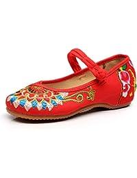 Fanwer Bordado de La Lona de Las Mujeres Tótem de Budismo Suela Suave Mary Janes Zapatos
