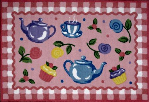 Fun Teppiche Olive Kids Tea Party Home dekoratives Bereich Teppich 99,1x 147,3cm - Baumwolle Geflochten Olive