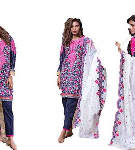 Genuine Pakistani Imported Unstitched Dress Material by Sahil Collection Embroidered -Purple