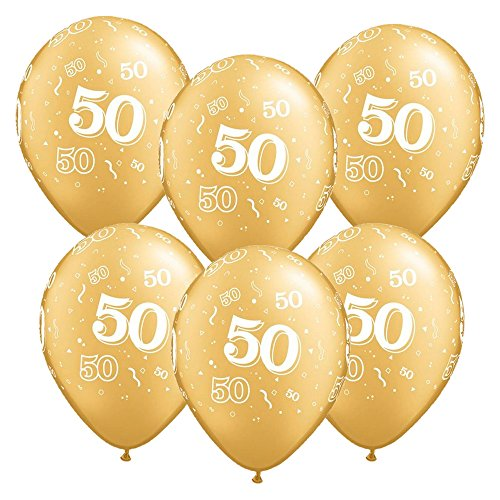 12-Inch Glitz Latex 50th Birthday Balloons (Pack of 6, Gold)