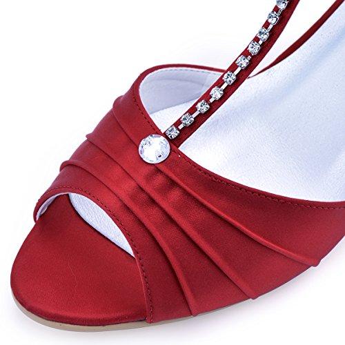 ElegantPark EL-035 Escarpins Femme Satin Bout Ouvert Bride Cheville Diamant Salome Mitalon Chaussures de mariee Bal Rouge