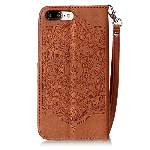 iPhone 7 Plus Hülle, iPhone 7 Plus Neo Hülle Case, iPhone 7 Plus Leder Brieftasche Hülle Case,Cozy Hut iPhone 7 Plus Leder Hülle iPhone 7 Plus Ledertasche Brieftasche Schutz Handytasche mit Standfunkt brun Campanula