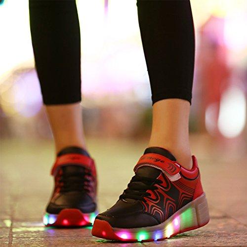 Wheelies Schuhe mit Rollen Rädern Skateboard Blinkschuhe Outdoor Sport Kinderschuhe Led Licht Turnschuhe Leuchtend Sneaker Mädchen Jungen Schwarz 2