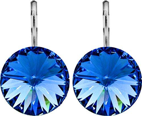 petra kupfer Damen Ohrringe Ohrhänger Rivoli 1 Swarovski®-Kristall 14 mm Blau Sapphire Versilbert hk14tb-sapphire -