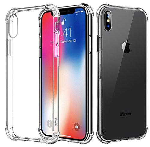 Bovon Funda iPhone X [5.8 Pulgadas] [Crystal Clear] Parachoques de Absorcion de Choque Alta Resistencia [Ultra Fina] Transparente Flexible TPU Carcasa Protectora para iPhone X(2017)