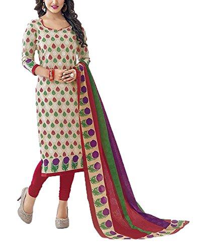 Saranya Sarees Women's Cotton Unstitched Dress Material (Multi-Coloured)