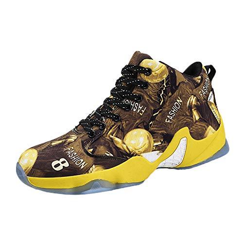 LuckyGirls Homme Baskets de Basket-Ball Légères Antidérapantes Chaussures de Course Mode Sneakers High-Top Lace Up Chaussures de Sport Gymnase Entraînement Athlétique Shoes 39-46