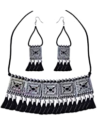 8e68a95e8 YouBella Jewellery Set for Women Silver Plated Oxidised Tribal Cotton  Thread Jewellery Necklace Earring Set for