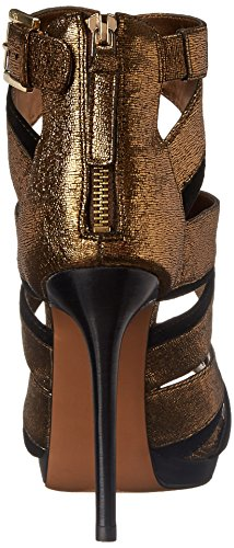 Nine West Womens Bonjorno Leather Heeled Sandal Bronze/Black
