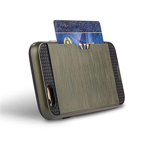 Hybride Coque Antichoc pour Apple iPhone 6/6s 4.7 pouce - Aohro Silicone TPU + PC [Double Protection] Armor Etui de Protection Wallet Case Cover avec Porte-Cartes + Dust Plug + Stylet, Bleu marin Armée verte