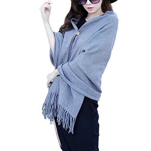 QQI Donna Scialle Imitazione Sciarpa Cashmere Colore Solido Pizzo Mantello Cardigan con Bottone e Nappa TAUPLE