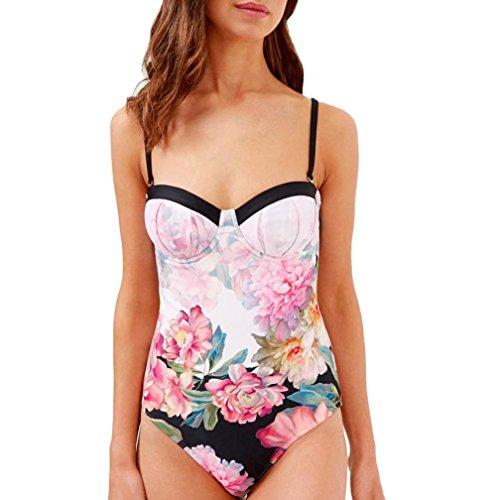 Bademode Damen, Sunday Frauen Mädchen Bikini Padded Bade Reizvolles Beach Floral Body Badeanzug Bademode Ein Stück (L, Rosa) (Badeanzüge Ein Alle Stück)