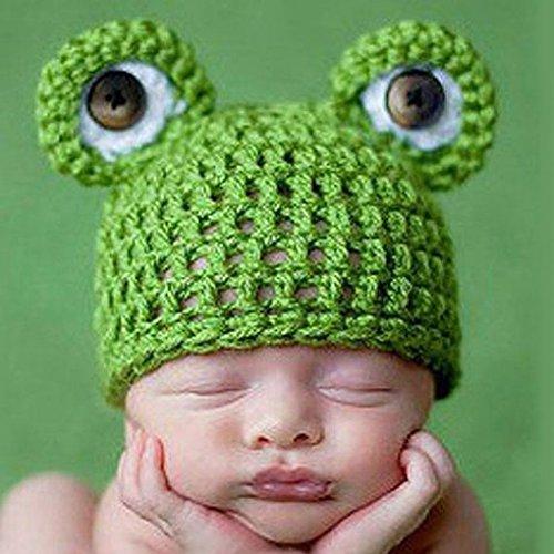 QHGstore Carino Frog Newborn Crochet Outfits Cappello Set protezione calda protezione ragazzo della ragazza cappello del bambino della protezione del bambino per Infant Newborn Fotografia Prop
