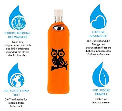 Eule Neo 0,75 - Flaska Trinkflasche Wasserflasche Glasflasche zum regelmäßigen Wassertrinken + 2 Korken
