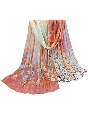 Ularma Moda Mujeres diseño impreso seda suave gasa de seda chal de abrigo bufanda bufandas envolturas