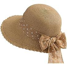 3511e2f73f2eb ZX Gorras Sombrero de Paja Mujer Visor de Verano Casual Protección Solar  Viajes Vacaciones Playa Accesorios