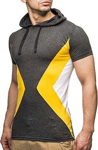 LEIF NELSON Herren T-Shirt LNN20150370; Größe S, Anthrazit-Gelb | 04250863647225