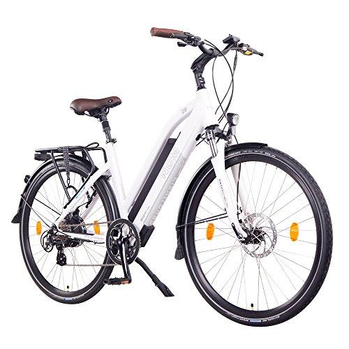 "NCM Milano 48V, 26\"" / 28\"" Zoll Damen & Herren Urban E-Bike Elektrofahrrad Pedelec, 250W Das-Kit Heckmotor, 13Ah 624Wh Li-Ion Zellen Akku, mechanische Scheibenbremsen, 7 Gang Schaltung (28\"" Weiß)"