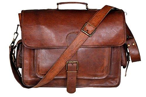 DHK Handgefertigte Aktentasche Crossbody Schulter Vintage Leder 15-Zoll-Laptop-Tasche -