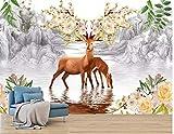 BHXINGMU Murales Personalizados Ciervos De Fantasía China Modernos Decoración De Pared De Hotel Grande 250Cm(H)×360Cm(W)