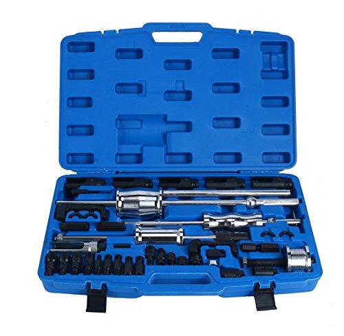 FreeTec Extracteur d'injecteurs Diesel 40 Pièces Jeu DE 3 robinets à Glissière intérieur/extérieur et Griffes CDI BMW Opel HDI Mercedes Toyota Renault