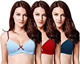 Susie Women's Cotton Lightly Padded Full Coverage T-Shirt Bra (Pack of 3)